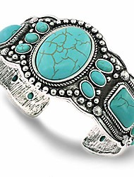 cheap -women's antique rgentium plated base heart compressed turquoise bracelet cuff bangle fashion jewelry (1323a blue)