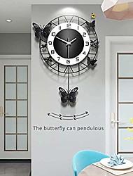 cheap -metal black drop wall clock,pretty butterfly design,non-ticking silent quartz clocks with arabic numerals home decoration