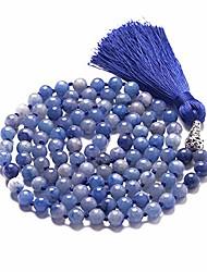 cheap -mala beads 108 8mm mala necklace yoga meditation prayer beads hand knotted natural stone necklace japa mala tassel necklace (blue aventurine)