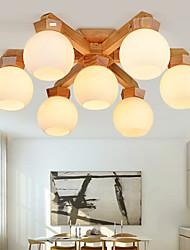 cheap -3/5/7 Heads LED Ceiling Light Modern Nordic Design Wood Glass Bedroom Living Room Dining Room Painted Finishes 65cm 70cm 75cm 110-120V 220-240V
