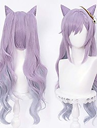 cheap -pastel purple pigtails wig with horns for keqing genshin impact game anime cosplay hair wigs with twin ponytails(no pin)