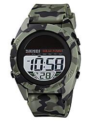cheap -solar power watches for men waterproof simple military electronic quartz digital sport watch stopwatch alarm (green)