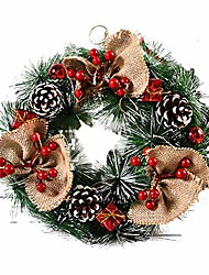 cheap -13 inch artificial christmas wreath christmas front door hanging wreath spruce decorative wreath with pinecones bowknot red berries for christmas door wall window decor