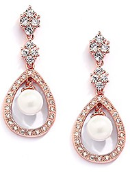 cheap -14k rose gold plated clip on earrings for brides with glass pearl drops & cz accents