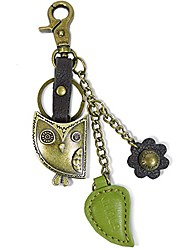 cheap -chala bronze color metal- purse charm, key fob, keychain decorative accessories (owl green)