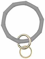 cheap -key ring bracelet wristlet keychain bamboo style silicone bangle keyring(gray)