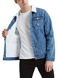 cheap -men's fleece lined borg collar the sherpa trucker jacket jean denim jacket 1347# blue xs-32
