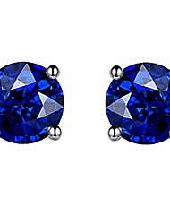 cheap -6mm round blue stud earrings with stone crystal gemstone simulated diamond for women or girls(blue)