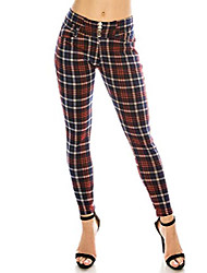 cheap -women's  plaid print button pants elastic waist soft printed fashion leggings trouser stretch skinny pants
