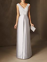 cheap -Sheath / Column Minimalist Elegant Wedding Guest Formal Evening Dress V Neck Sleeveless Floor Length Chiffon Satin with Beading 2021