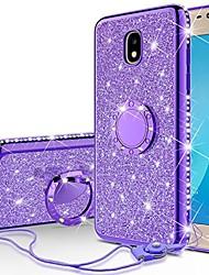 cheap -cute glitter phone case compatible for samsung galaxy j7 crown case,galaxy j7 star,j7 2018,j7v 2nd gen,j7 refine case,girls women bling diamond ring kickstand thin sparkly, purple