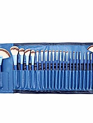 cheap -makeup brush professional 24 piece make up brush set with luxury leather effect carry bag stylish gift box pink blue (color : e blue, size : free)