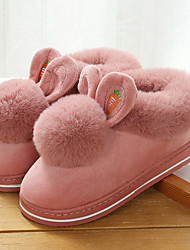 cheap -Women's Slippers & Flip-Flops Fuzzy Slippers Indoor Shoes Flat Heel Round Toe Casual Home Nubuck Solid Colored Winter Black Fuchsia Pink
