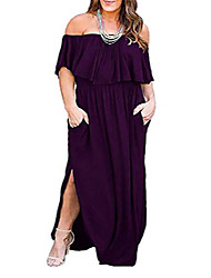 cheap -women's upper flounce layer off shoulder plus size slit maxi dress nem200 - green - 20 plus