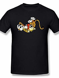 cheap -mens running with calvin and hobbes design t-shirts xxl black