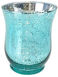 cheap -mercury glass hurricane votive candle holder 3.5-inch (1pc, speckled aqua) - mercury glass votive tealight candle holders for weddings, parties and home décor