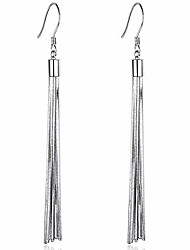 cheap -925 sterling silver tassel drop dangle earrings (silver)