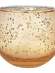 cheap -round mercury glass votive candle holder 3.5-inch speckled gold