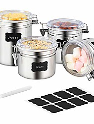 cheap -stainless steel airtight canister set - 4-piece food storage containers for kitchen counter coffee tea nuts, sugar flour canister with clear acrylic lid n locking clamp and labels & chalk