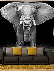cheap -elephant tapestry,black and white wild animals african elephant landscape scenery wall haning tapestry psychedelic hippie bohemian tapestry wall hanging for bedroom living room dorm.78x58inch