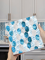 cheap -Imitation Epoxy Tile Sticker Blue and White Crystal Mosaic Wall Sticker House Renovation DIY Self-adhesive PVC Wallpaper Painting Kitchen Waterproof and Oilproof Wall Sticker