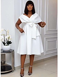 cheap -Women's Plus Size A Line Dress Knee Length Dress White Black Green Short Sleeve Solid Color Patchwork Fall Spring Summer Off Shoulder Formal Sexy 2021 S M L XL XXL 3XL