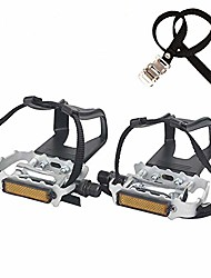 cheap -namucuo bike pedals with clips and straps, for exercise bike, spin bike and outdoor bicycles, 9/16-inch spindle resin/alloy bicycle pedals, half year warranty (silver)