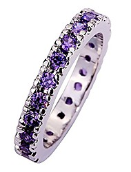 cheap -925 sterling silver created amethyst filled eternity stacking ring band size 8