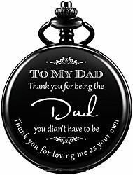 """cheap -pocket watch men personalized """"thank you for being the dad"""" chain quartz from daughter child to dad father engraved black"""