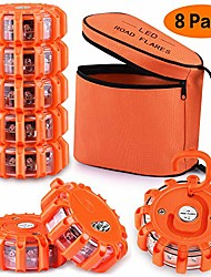 cheap -[8 pack] led road flares safety flashing warning light roadside emergency disc beacon kit for vehicles boats with magnetic base & hook, premium storage bag (batteries not included) (8)