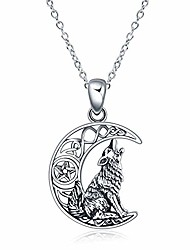 """cheap -sterling silver wolf jewelry howling wolf pendant necklace for men for women, 18""""+2"""" (style-1)"""