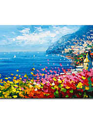 cheap -Mintura Large Size Hand Painted Abstract Seaside Scenery Oil Painting on Canvas Modern Wall Art Picture For Home Decoration No Framed