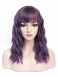 cheap -short purple wig 18'' party wigs with bangs women synthetic wavy wig for halloween cosplay, adjustable average size