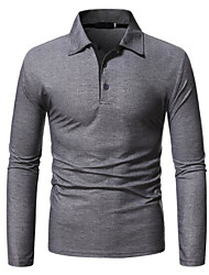 cheap -men's casual polo shirts long sleeve striped collar cotton t-shirts grey xx-large