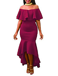 cheap -womens off shoulder high low ruffle solid mermaid midi dress for party burgundy size l, us 8-10