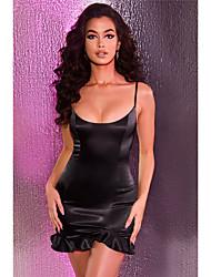 cheap -Sheath / Column Little Black Dress Sexy Homecoming Party Wear Dress Scoop Neck Sleeveless Short / Mini Spandex with Sleek 2021