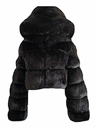 cheap -women fashion faux fur warm furry hooded faux fox fur jacket long sleeve coats outerwear