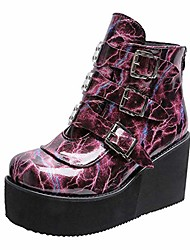 cheap -women's platform boots buckle marble ankle boots round toe high heel wedge boots