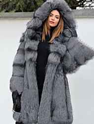 cheap -Long Sleeve Coats Jackets Faux Fur Wedding Special Occasion Women's Wrap With Cap Fur