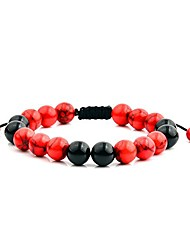 cheap -  crucible polished red turquoise and black onyx stone beaded adjustable bracelet (10mm wide)