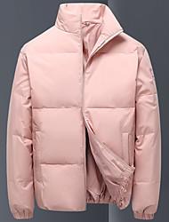 cheap -Men's Women's Down Parka Solid Colored POLY Black / Blue / Blushing Pink M / L / XL