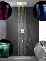cheap -12 Inch Chrome / 64-Color LED Shower Faucets Sets Complete with Stainless Steel Shower Head and Solid Brass Handshower Ceiling Mounted Rain Mode / Jet Mode / Rainfall Shower Head System