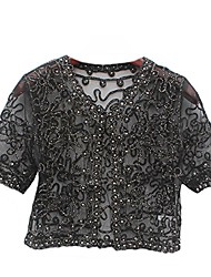 cheap -r.i.s women's short sleeved hand beaded lace & mesh bolero cropped jacket - available in apricot with gold thread or black with silver thread sizes 6-14 (12-14 uk, black)