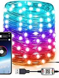 cheap -RGB Fairy Lights Led String Lights for Indoor Outdoor Twinkle Lights 20M 10M 5M Color Changing Music Sync Bluetooth APP Phone Starry Lights Bedroom USB String Lights