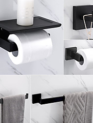 cheap -Bathroom Accessory Set Stainless Steel Include Towel Bar/Robe Hook/Toilet Paper Holder/Bathroom Tower Rack Matte Black 1or3or4pcs
