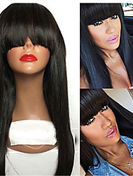 cheap -Wigs Women African Popular Black Wigs Flat Bangs Long Straight Hair Synthetic Fiber Hair Set Wigs