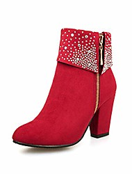 cheap -women's glitter zipper chunky block heel pointed toe ankle boots ladies short boots red
