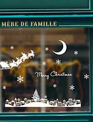cheap -2020 New Year Christmas DIY Window Stickers Home Shopping Center Snow Xmas Tree Merry Christmas Glass Window Wall Sticker Decals 50*35cm