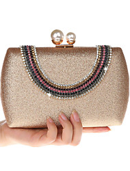 cheap -Women's Bags Faux Leather Synthetic Evening Bag Crystals Sequin Embellished&Embroidered Plain 2020 Party Daily Black Red Champagne Gold