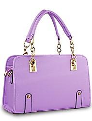 cheap -fashion womens chain top handle tote handbag office shoulder bag purple